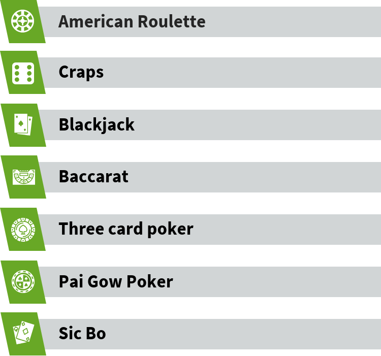 Types of table games